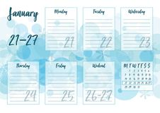 January 2019 Weekly planner. Vector illustration of January 2019 Weekly planner with abstract winter background - snow and snowflakes. For print notebooks Royalty Free Stock Photo