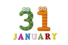 January 31 on white background, numbers and letters. Calendar vector illustration