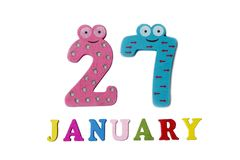 January 27 on white background, numbers and letters. Calendar stock illustration