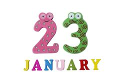 January 23 on white background, numbers and letters. Calendar stock illustration