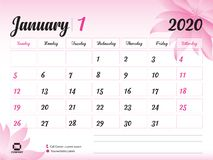 January 2020 Calendar Flowers January 2020 Year Template, Calendar 2020 Vector, Desk Calendar