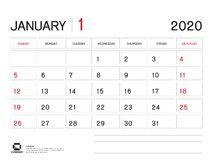 January 2020 Year Template, Calendar 2020 Vector, Desk Calendar Design, Week Start On Sunday, Planner, Stationery, Printing royalty free illustration