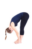 janubhalasana namaskar第二步骤surya瑜伽 图库摄影