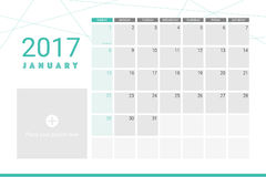 Januray 2017 calendar. With space for your pictures Royalty Free Stock Photo