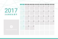 Januray 2017 calendar Royalty Free Stock Photo