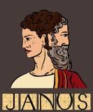 Janus mit Titel Stockbild