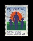 Janusz Korczak et enfants, centenaire de naissance, vers 1978 Photo stock
