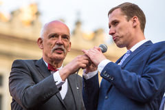 Janusz Korwin-Mikke or JKM, candidate for President of the Republic Poland Stock Photos