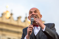 Janusz Korwin-Mikke or JKM, candidate for President of the Republic Poland, during meeting with voters. KRAKOW, POLAND - APR 29, 2015: Janusz Korwin-Mikke or Royalty Free Stock Photography