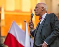 Janusz Korwin-Mikke of JKM, zijn een conservatieve liberale Poolse politicus Royalty-vrije Stock Afbeeldingen