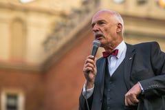 Janusz Korwin-Mikke of JKM, zijn een conservatieve liberale Poolse politicus, Royalty-vrije Stock Foto's
