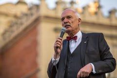 Janusz Korwin-Mikke of JKM, zijn een conservatieve liberale Poolse politicus Stock Fotografie