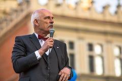 Janusz Korwin-Mikke ou JKM, são um político conservador do polonês do liberal imagens de stock