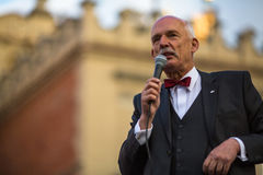 Janusz Korwin during pre-election rally of presidential candidate of Poland, on main square Krakow. Stock Photo