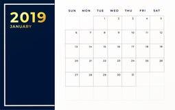 Janvier 2019 calibre de programme La semaine commence le mois civil vide de dimanche illustration libre de droits