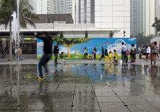 21 janvier 2015, Hong Kong : enfants à basse vitesse d'exposition de volet Photo libre de droits