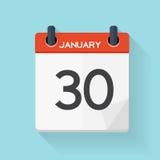 30 janvier icône à plat quotidienne de calendrier Emblème d'illustration de vecteur Photo stock