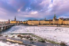 21 janvier 2017 : Panorama de la vieille ville de Stockholm, Suède Images libres de droits