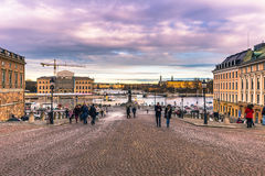 21 janvier 2017 : Panorama de Stockholm du palais royal, S Photographie stock libre de droits