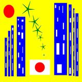 japão Cidade dos contrastes e da tecnologia ilustração royalty free