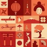 Japão, ilustração lisa do vetor, grupo do ícone Imagens de Stock Royalty Free