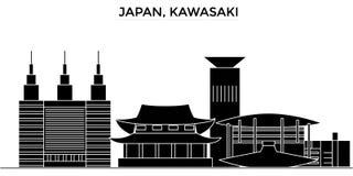 Japón, horizonte de la ciudad del vector de la arquitectura de Kawasaki, paisaje urbano del viaje con las señales, edificios, ais ilustración del vector