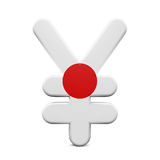 Japón Yen Symbol con la bandera Imágenes de archivo libres de regalías