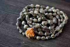 Japa Mala Rosary - Hinduism And Buddism Rosary Made From Tulsi Tree For Hare Krishna Chanting Royalty Free Stock Photo