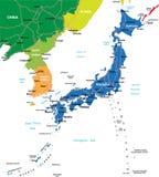 Japan översikt vektor illustrationer