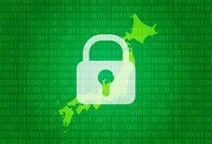 japan översikt illustration med bakgrund för lås och för binär kod internet som blockerar, virusattack, avskildhet skyddar vektor illustrationer