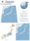 Japan översikter med markörer royaltyfri illustrationer