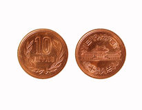 Japan 10 yens mynt Fotografering för Bildbyråer