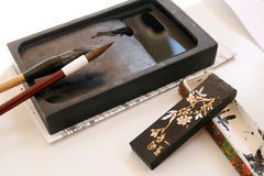 Japan. Ese accessories to write in a traditional way Stock Photo