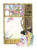 Japan. Illustration of two Japanese Geishas. Hand made illustration Royalty Free Stock Images