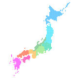 Japan. Map illustration of colorful dots Stock Image