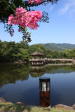 Japan. Lake with wooden house in a beautiful landscape in Nara, Japan stock image