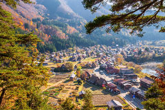 Japan-aerial view of Shirakawa-Go Stock Photography