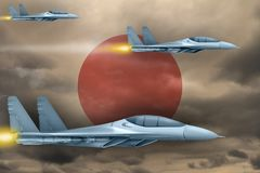 Japan air forces strike concept. Air planes attack on Japan flag background. 3d Illustration. Japan air strike concept. Modern war airplanes attack on Japan flag Royalty Free Stock Photography