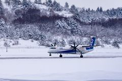 Japan Airline ready to Flight. Japan Airline  Airplane frighting in snow. so beautiful and cool Stock Images