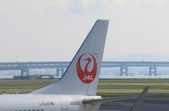 Japan Airline JAL. Japan Airline plane at Kansai International airport in Osaka Japan Stock Photos