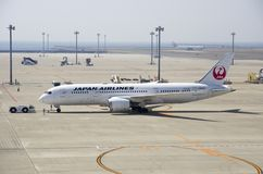 Japan Airlines Boeing 787 at Chubu Centrair International Airport Royalty Free Stock Photos