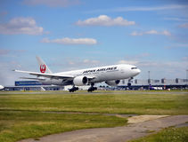 Japan Airlines, Boeing 777. Boeing 777 - Japan Airlines JAL/JL  landing in PRG -Prague International Airport, 2017. Czech Republic Royalty Free Stock Images