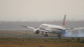Japan Airlines Dreamliner Boeing 787 que aproxima-se video estoque