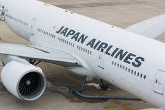 Japan Airlines i Chubu Centrair den internationella flygplatsen Japan Arkivfoton
