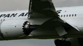 Japan Airlines JAL Boeing B787 landning på den Narita flygplatsen stock video