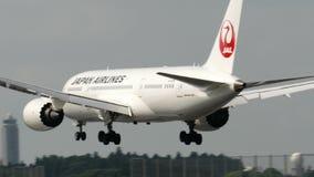 Japan Airlines JAL Boeing B787-8 landning på den Narita flygplatsen stock video
