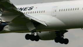 Japan Airlines JAL Boeing 787 débarquant à l'aéroport de Narita banque de vidéos
