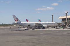 Japan Airlines. A Japan Airlines plane at the terminal in Honolulu Hawaii Stock Photos