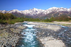 Japan Alps and river Royalty Free Stock Photo