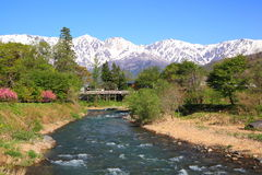 Japan Alps and river Stock Image
